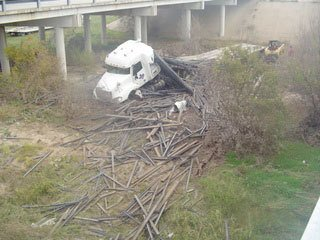 Tractor trailer accident wreckage