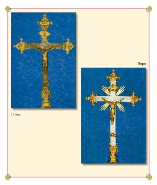 due immagini di un crocefisso ossidato e dopo pulita