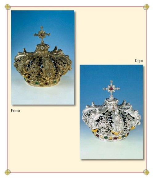 due immagini di una corona ossidata e dopo pulita