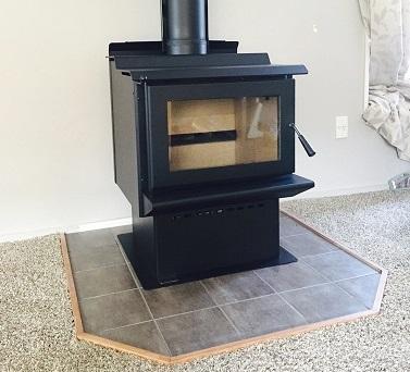 Log burner on a hearth