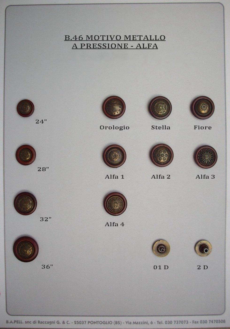 Bottoni metallo alfa