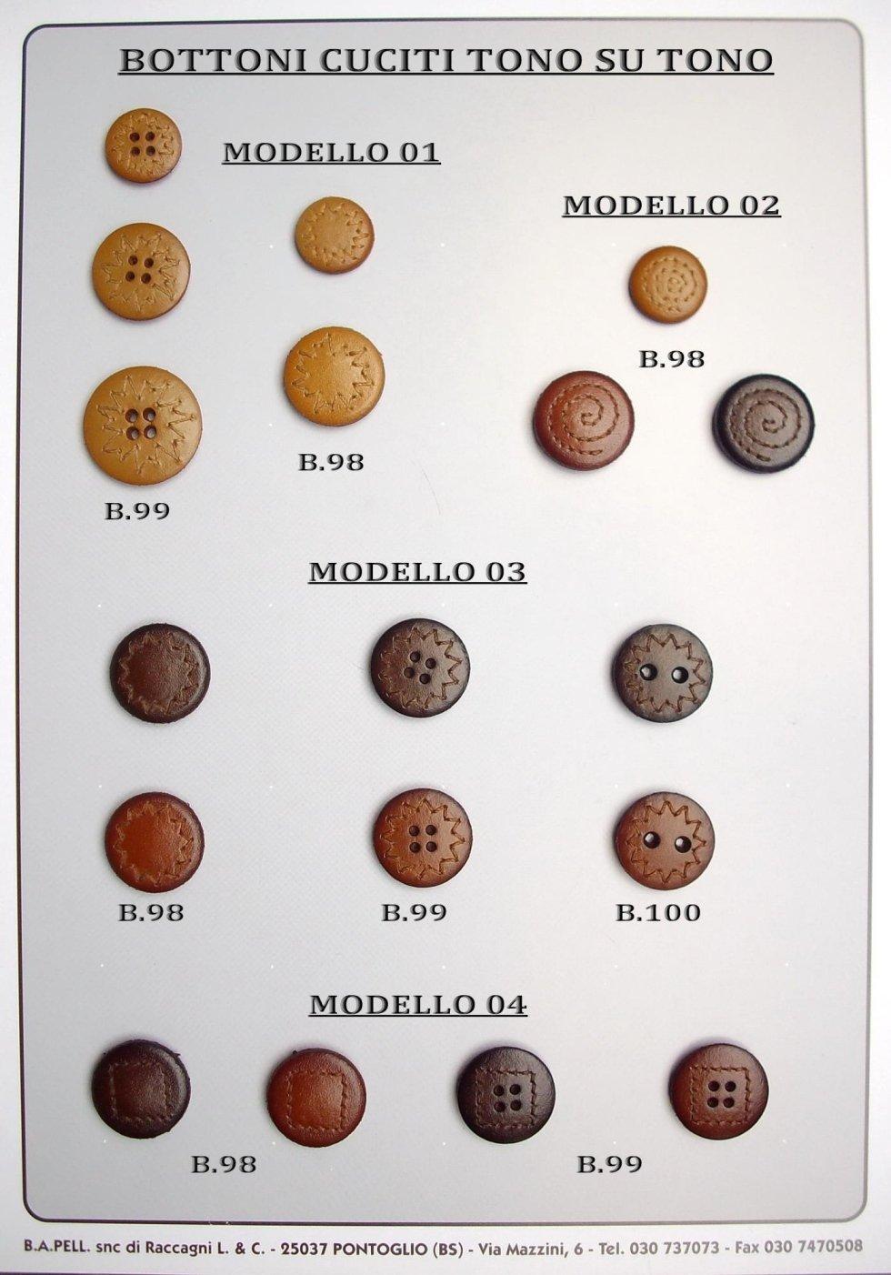 Bottoni cuciti vari tono su tono