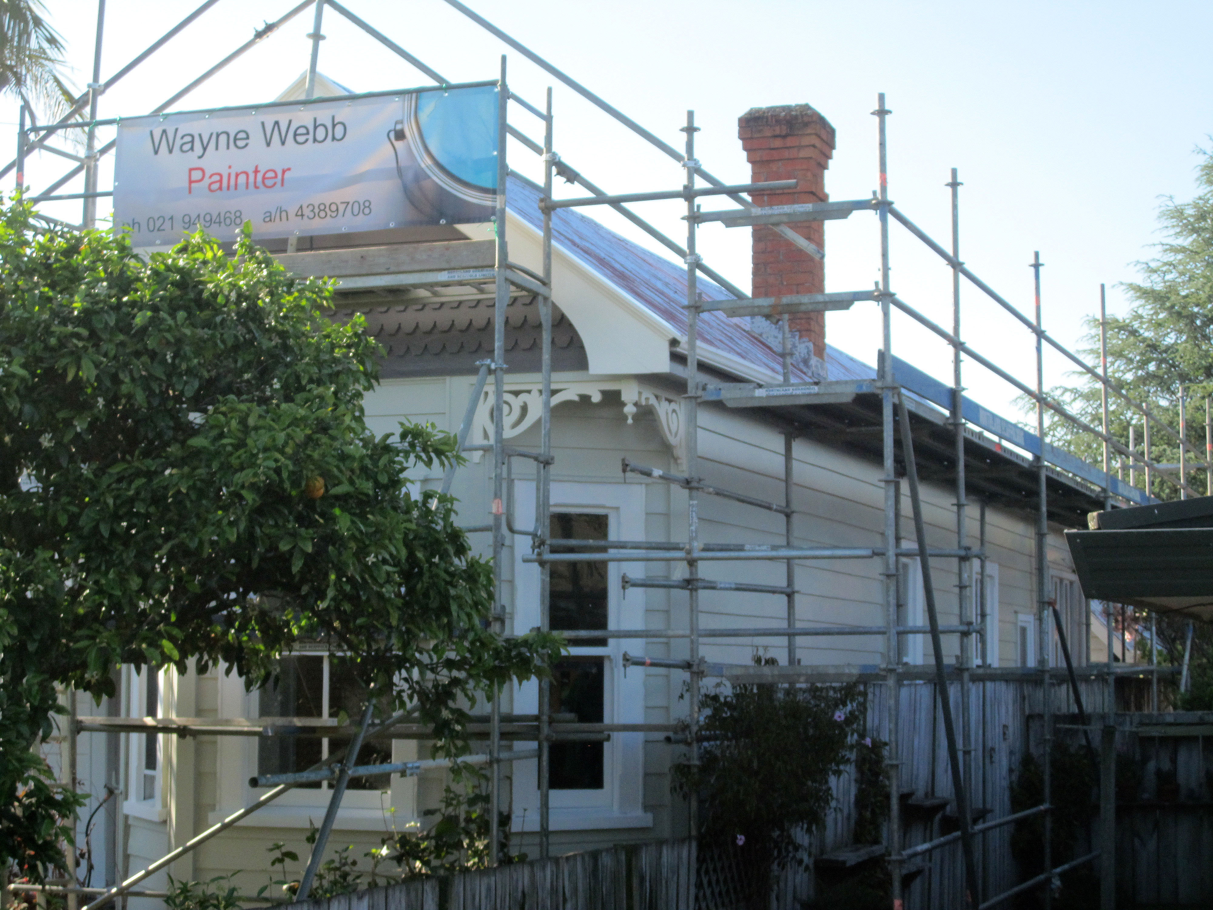 During restoring paintwork on a Villa in Whangarei by Wayne Webb Painters