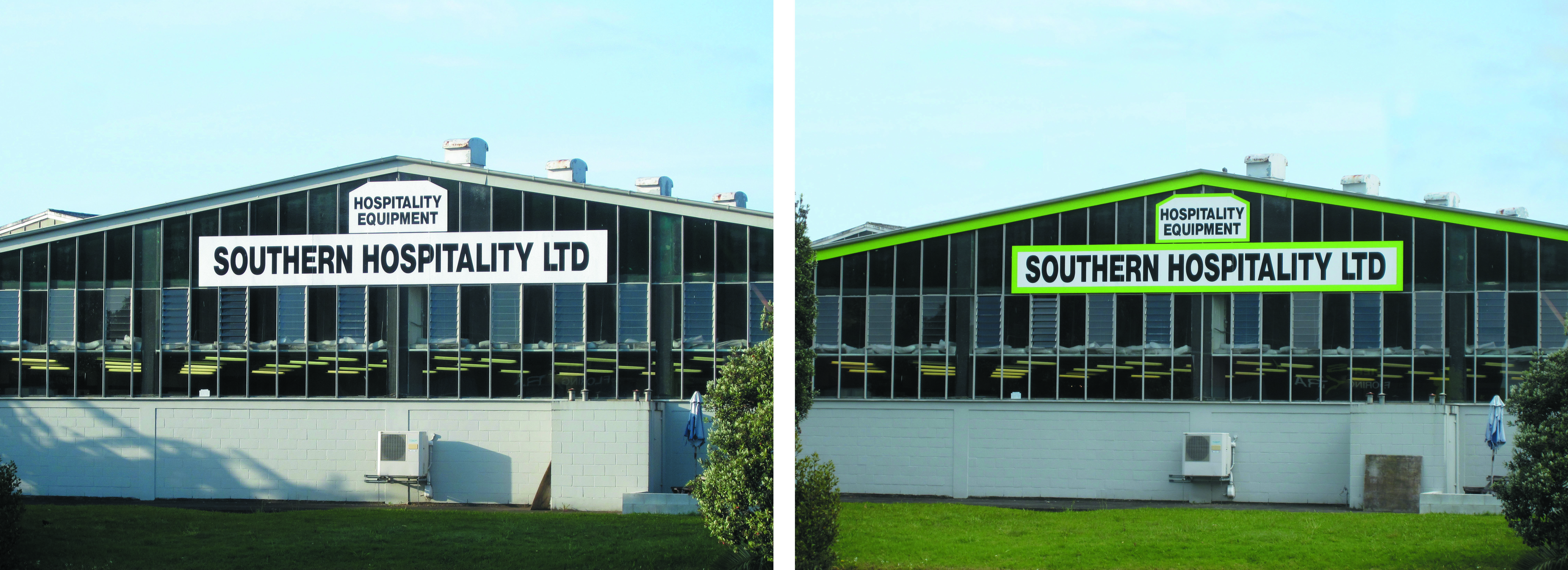 Before and after adding green paint to a commercial building in Whangarei by Wayne Webb Painters