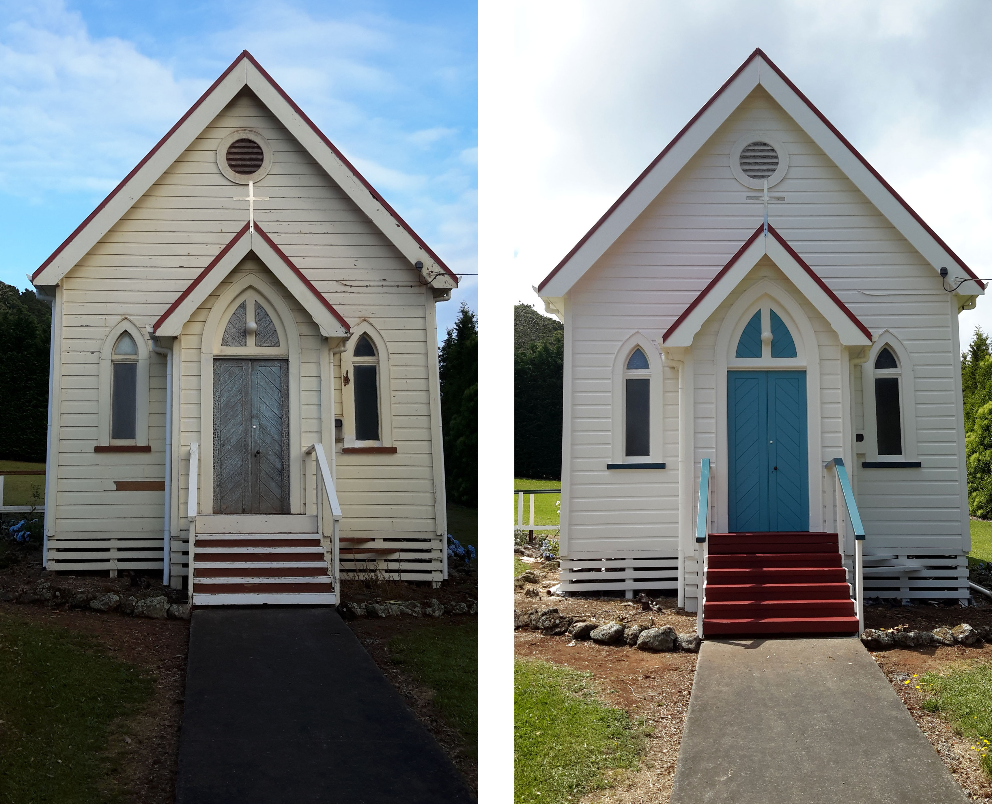 Before and after restoring paintwork on a Maungakaramea Church By Wayne Webb Painters