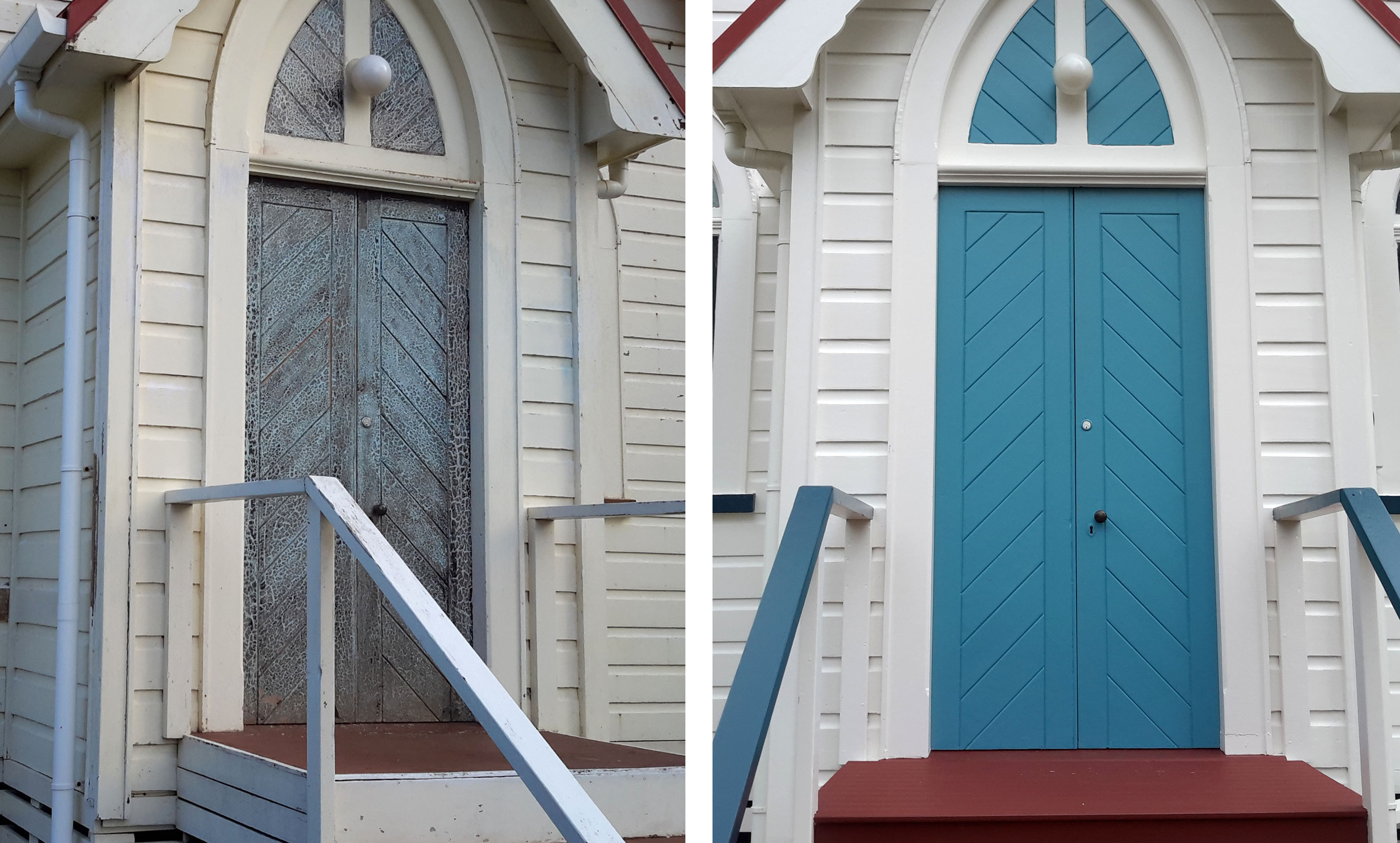 Before and after restoring paintwork on a Maungakaramea Church, up close of Church doors