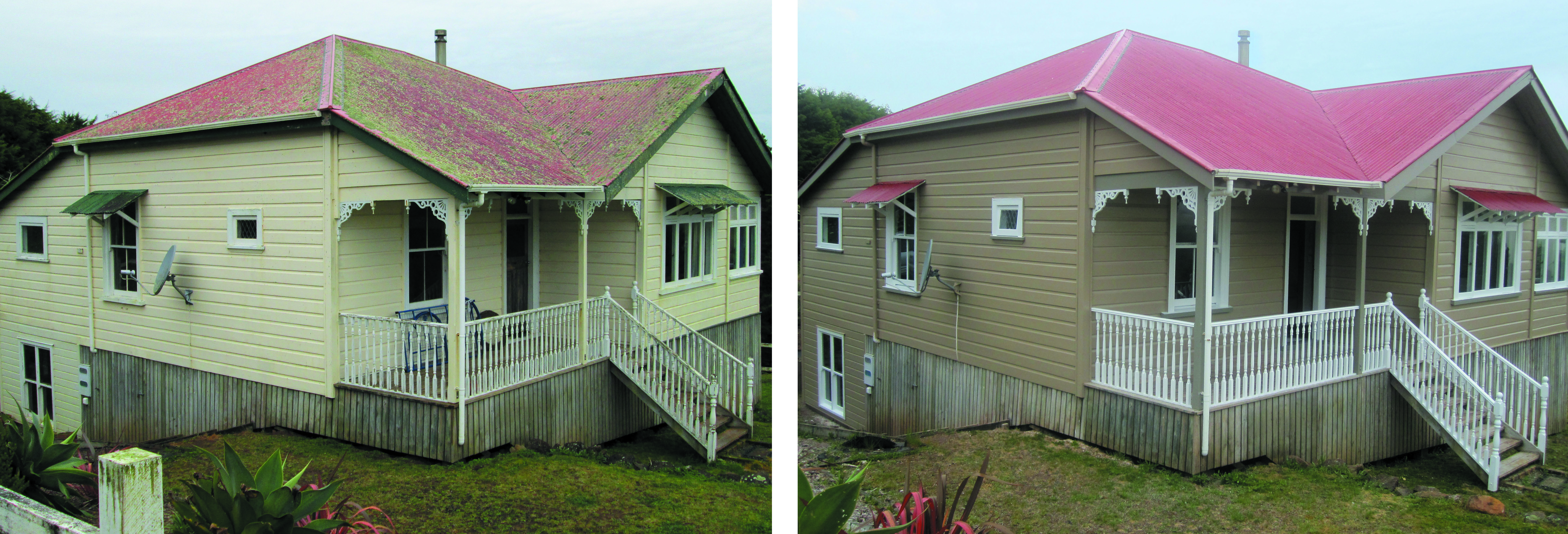 Before and after shots of house in Okaihau by Wayne Webb Painters