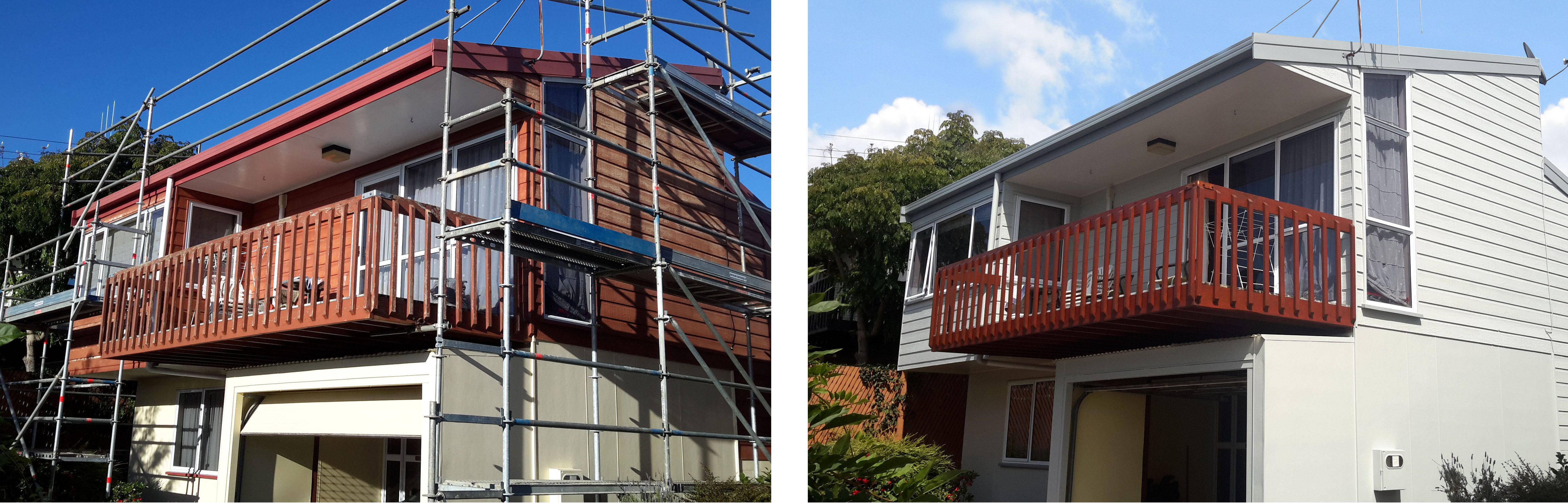 Before and after residential house requiring scaffolding by Wayne Webb Painter