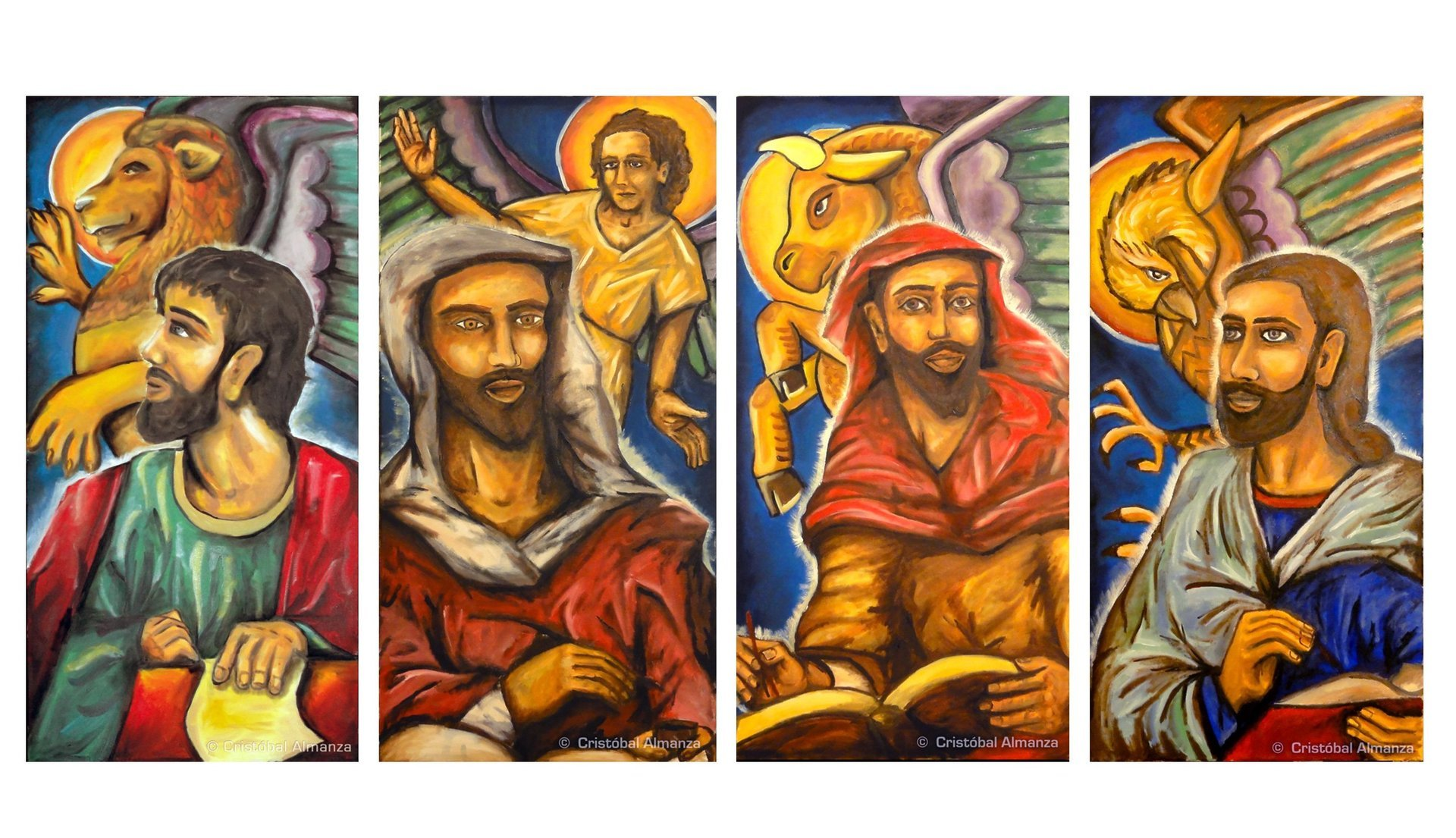 The four evangelists in the early church the four living creatures that encircle gods throne in the book of revelation 47 8 became symbols for the evangelists buycottarizona Choice Image