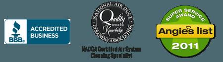 Better Business Bureau logo, NADCA logo and Angie List award logo