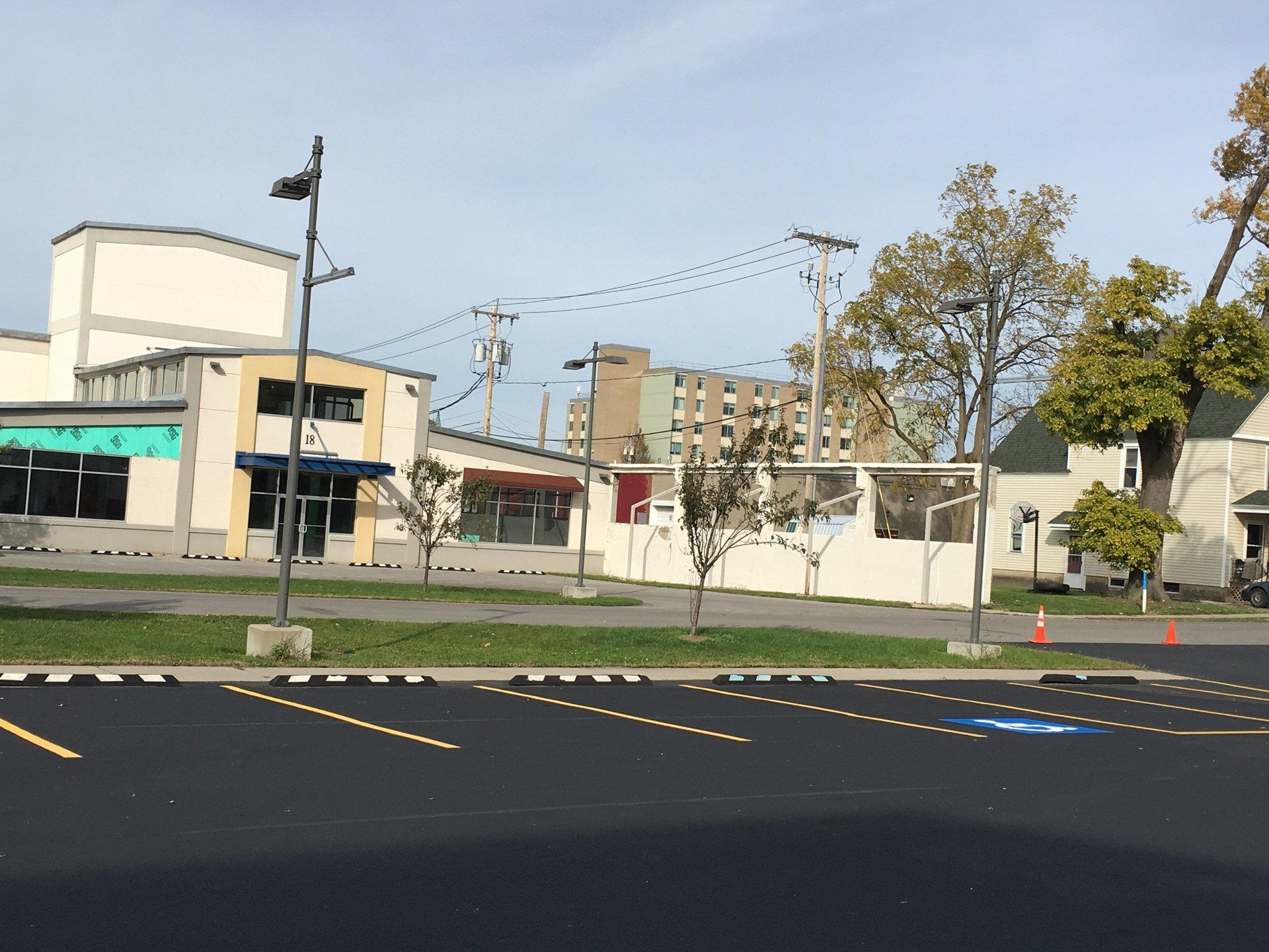 Fresh painted parking lot installation in Batavia, NY
