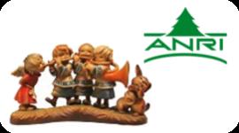 Angeli musicanti, scultura in legno con 4 personaggi, logo Anri