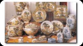 piatti con paesaggi, paesaggistica, ceramiche dipinte a mano