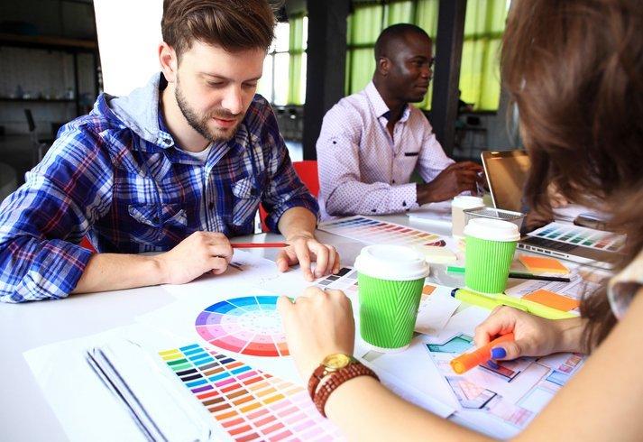 people choosing design colors