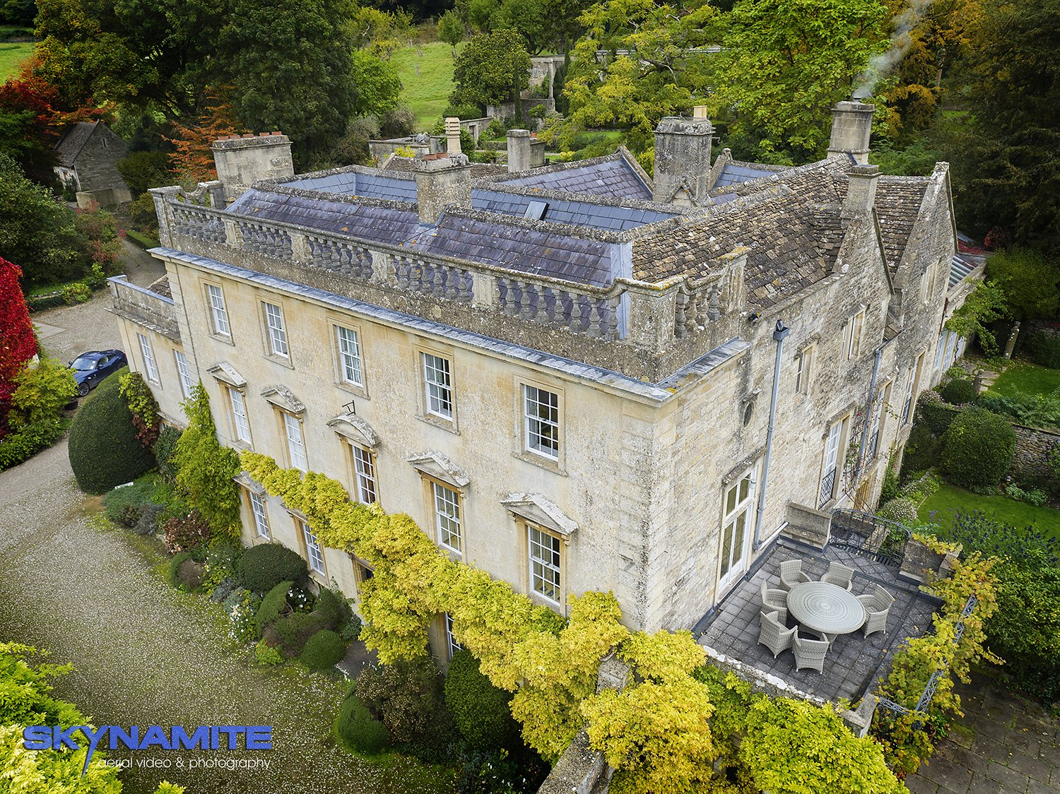 An aerial shot of Iford Manor, Wiltshire