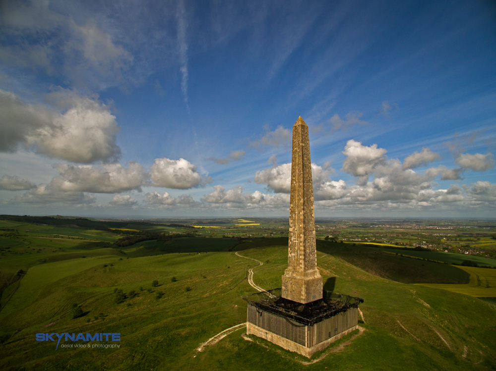 Aerial picture of Lansdowne Monument near Calne, Wiltshire