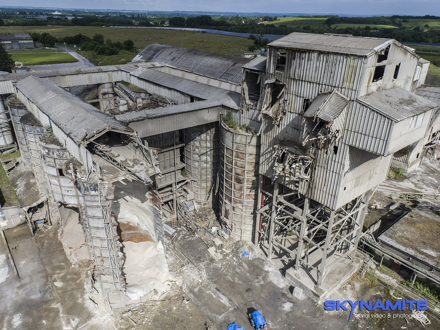 Aerial demolition picture, Westbury cement works