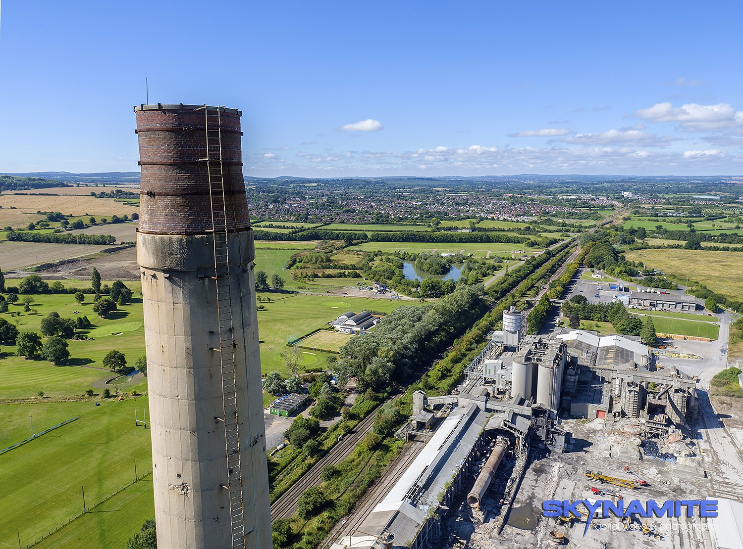 Aerial picture of Westbury cement works chimney