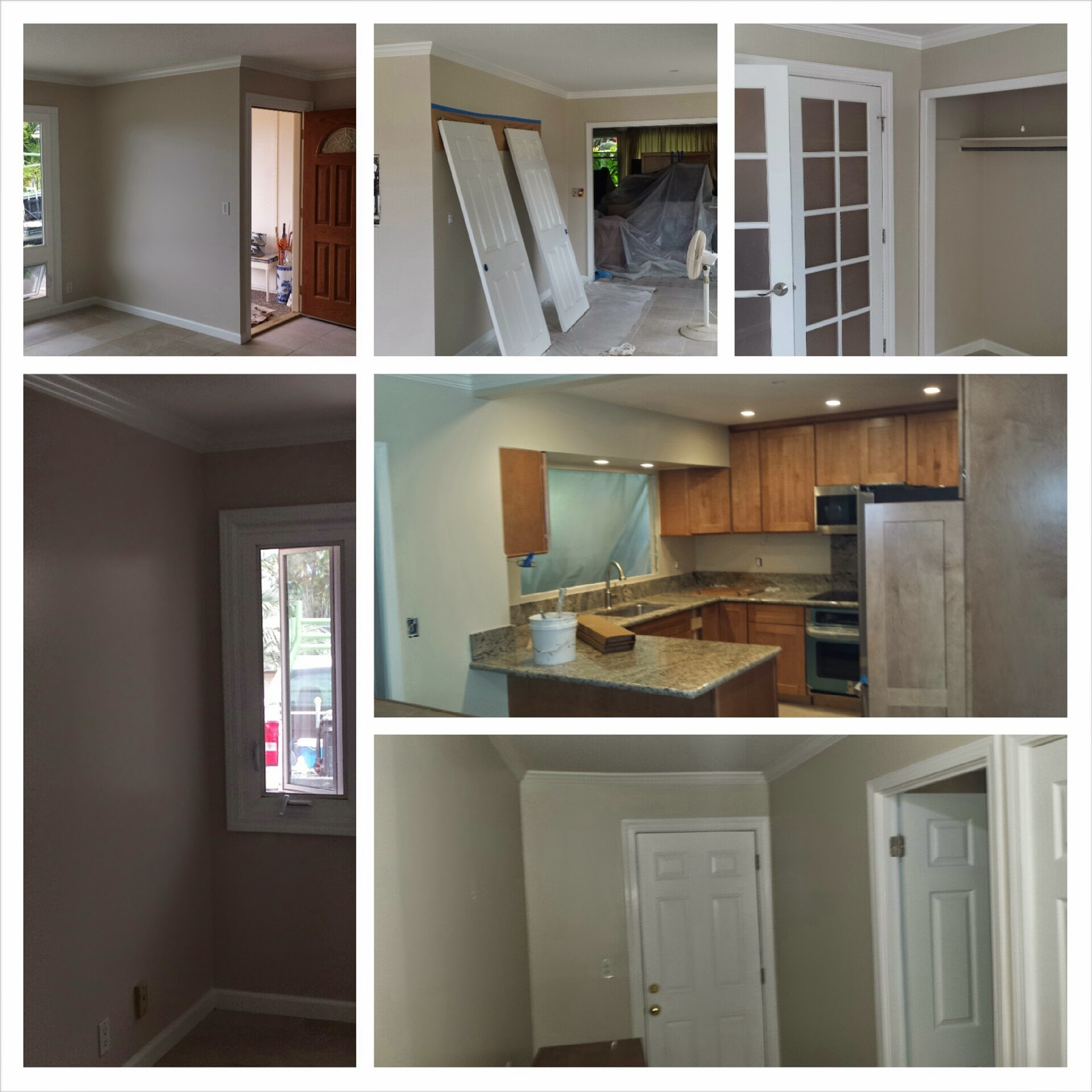 Collage of home interior, including kitchen, being renovated by Clinton's Painting