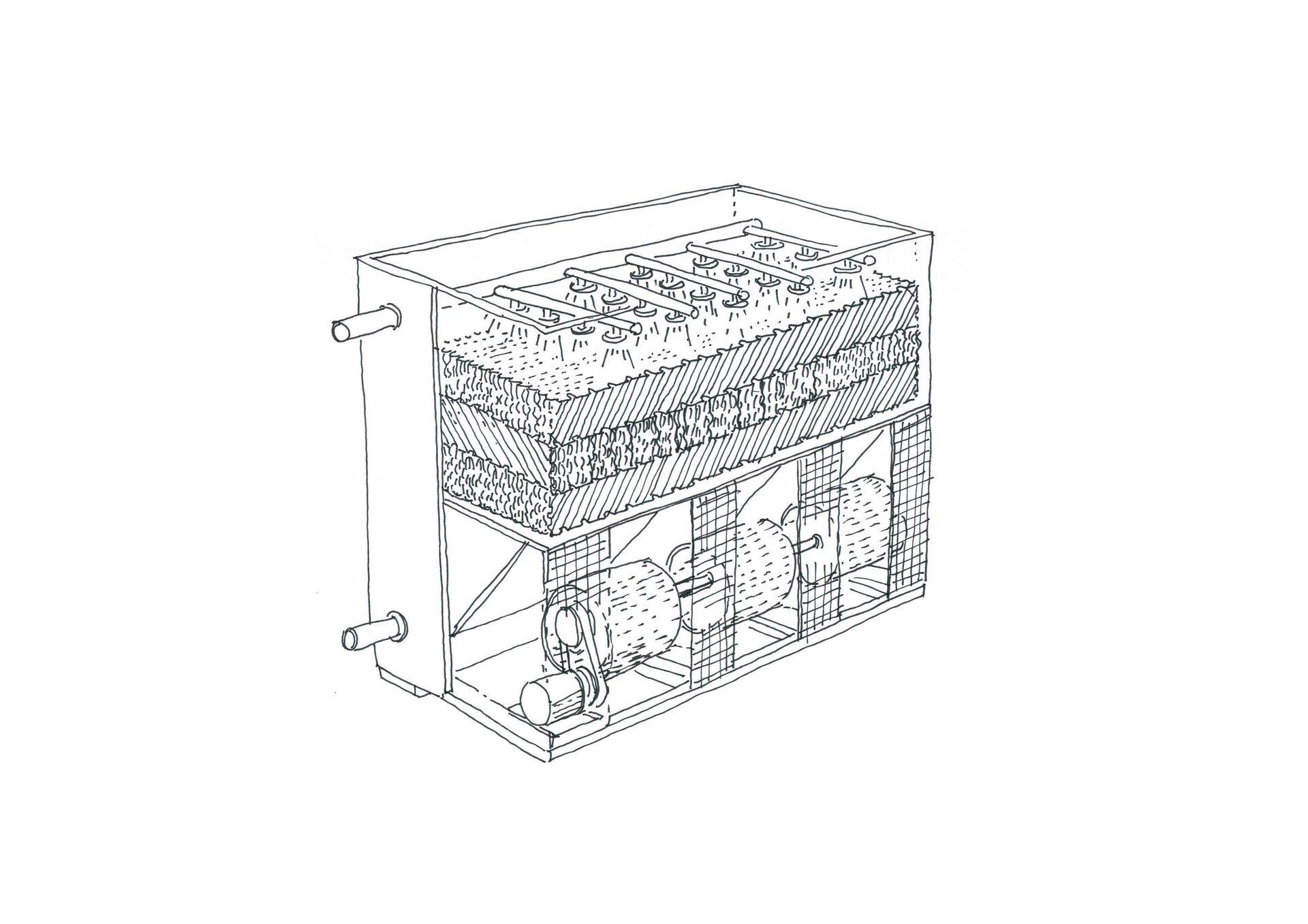 Disegno per torre da raffreddamento a circuito aperto  TMR