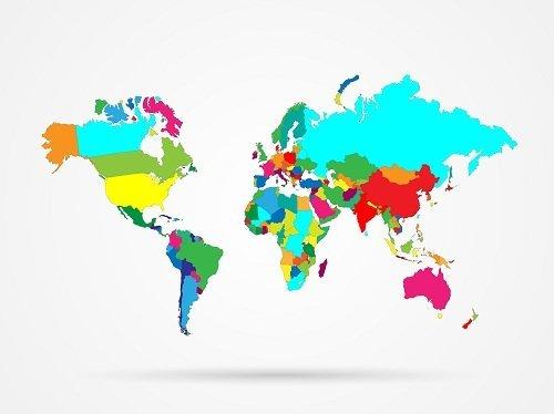 Mappa del mondo tutti colore