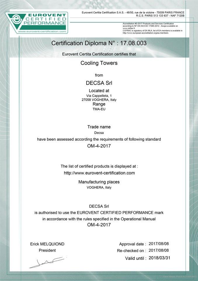 Le due certificato della ditta