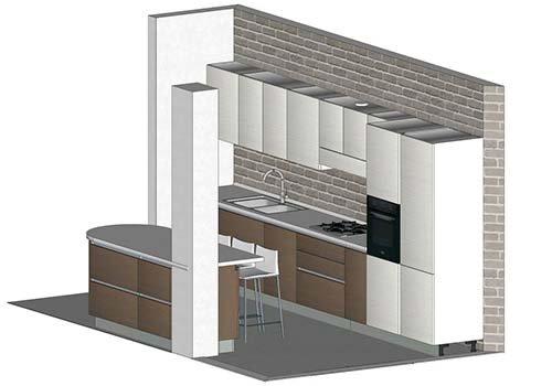 una cucina con una penisola disegnato con autocad