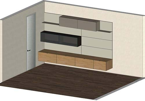 un mobile da tv in legno e due mensole di color nero e marrone disegnato con autocad