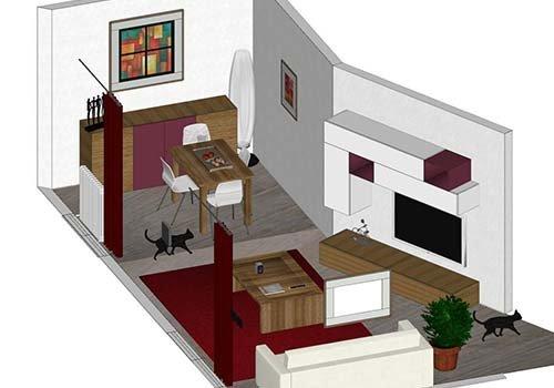 una sala con un divano di color bianco, un tavolino in legno e altri mobili disegnato con autocad