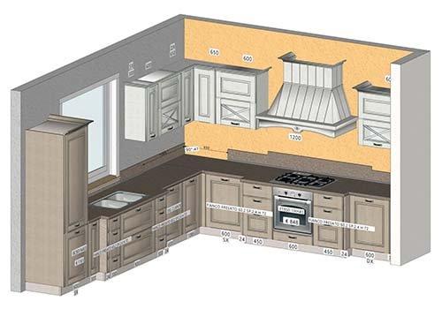 una scheda tecnica di una cucina ad angolo