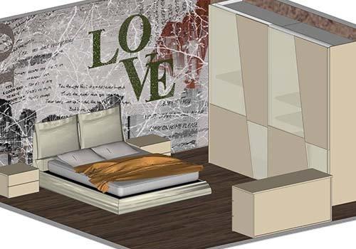una camera con un letto, armadio, due comodini e un como'
