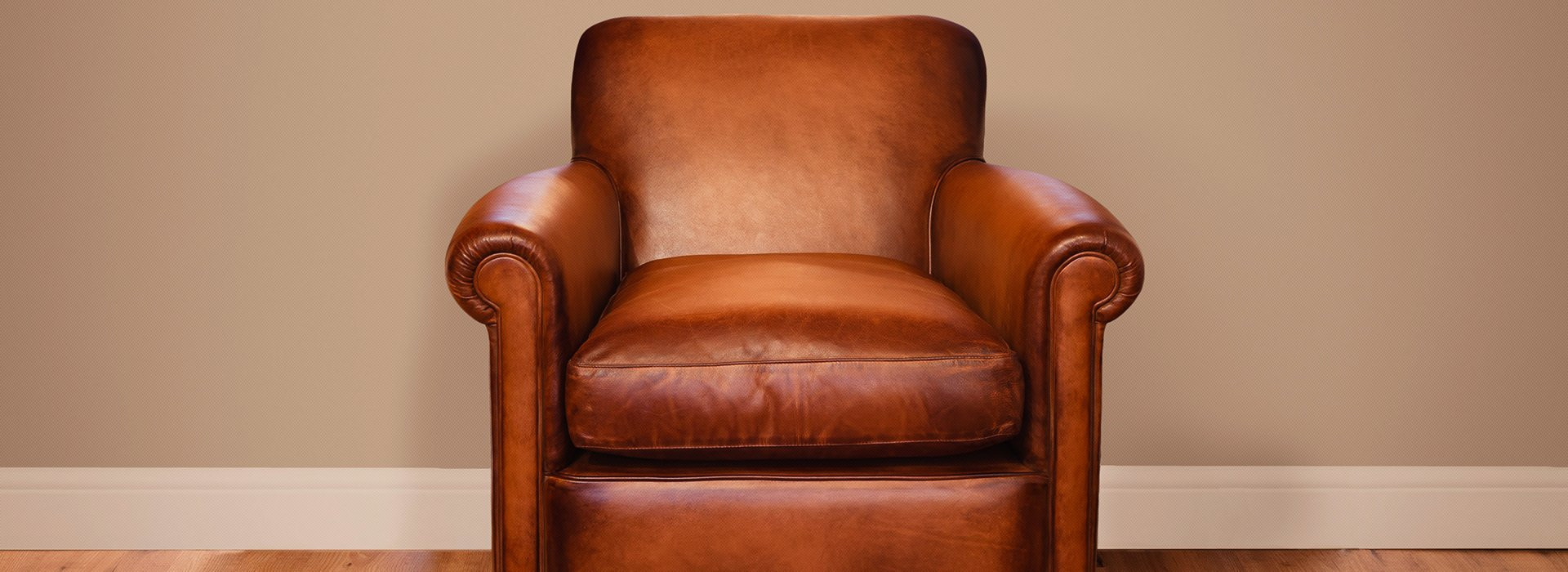 A brown leather armchair