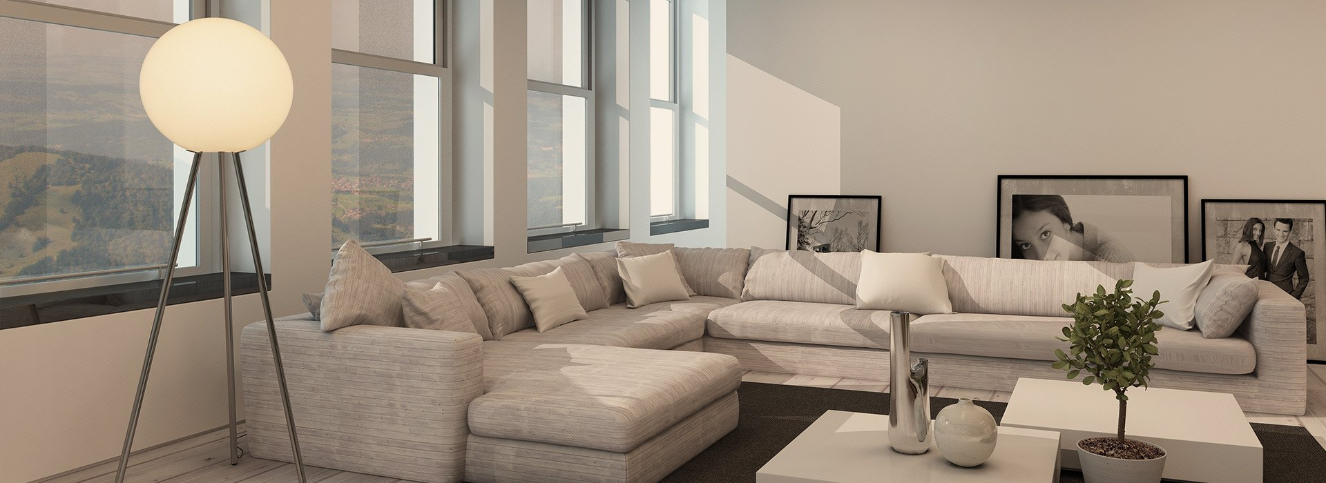 A large corner sofa