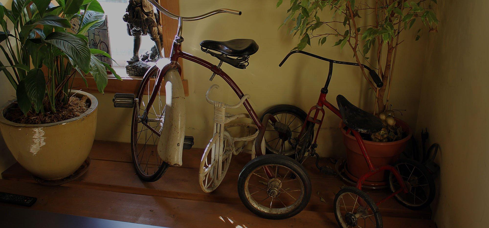 Antique children's tricycles