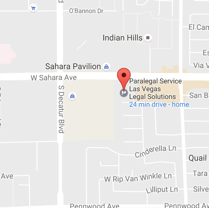 Las Vegas Paralegal Service Map - Legal Solutions 4601 W. Sahara Avenue, Suite L Las Vegas, NV 89102