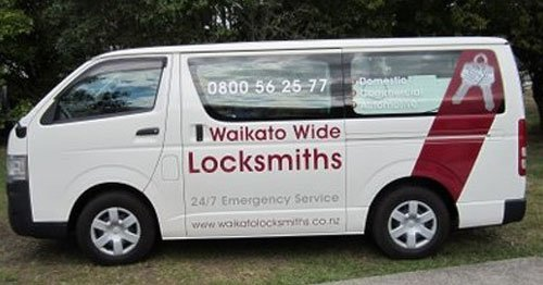 Waikato Wide Locksmiths van parked in the customer premises
