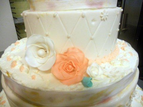 Torta matrimoniale color Tiffany e Pesca_