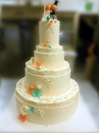 Torta matrimoniale color Tiffany e Pesca