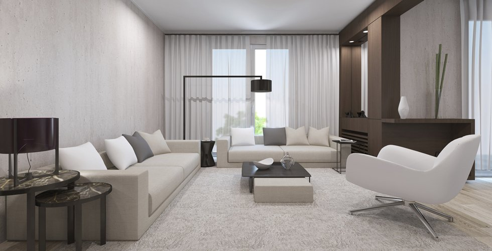 white themed sitting room