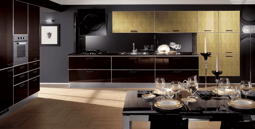 cucina nera e color legno