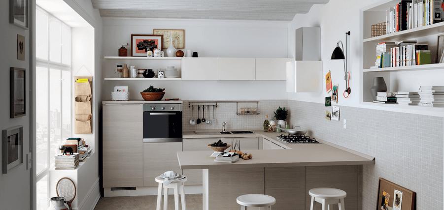 cucina moderna con penisola tavolo