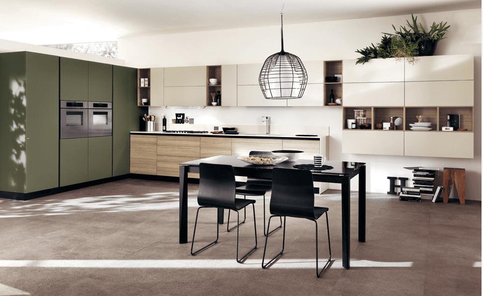 cucina-moderna-verde-crema-inserto-effetto-legno