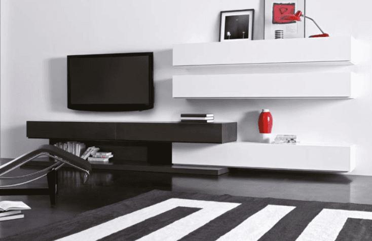 parete attrezzata bianco nero