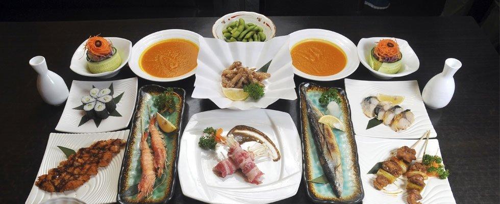 zuppe, pesce alla grigia e sushi