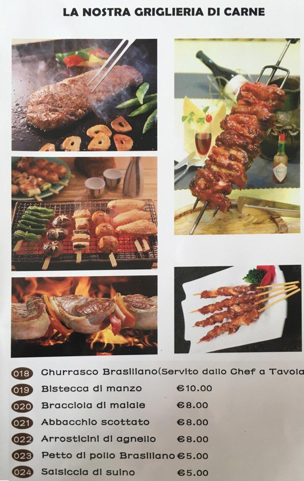 menù della griglieria brasiliana