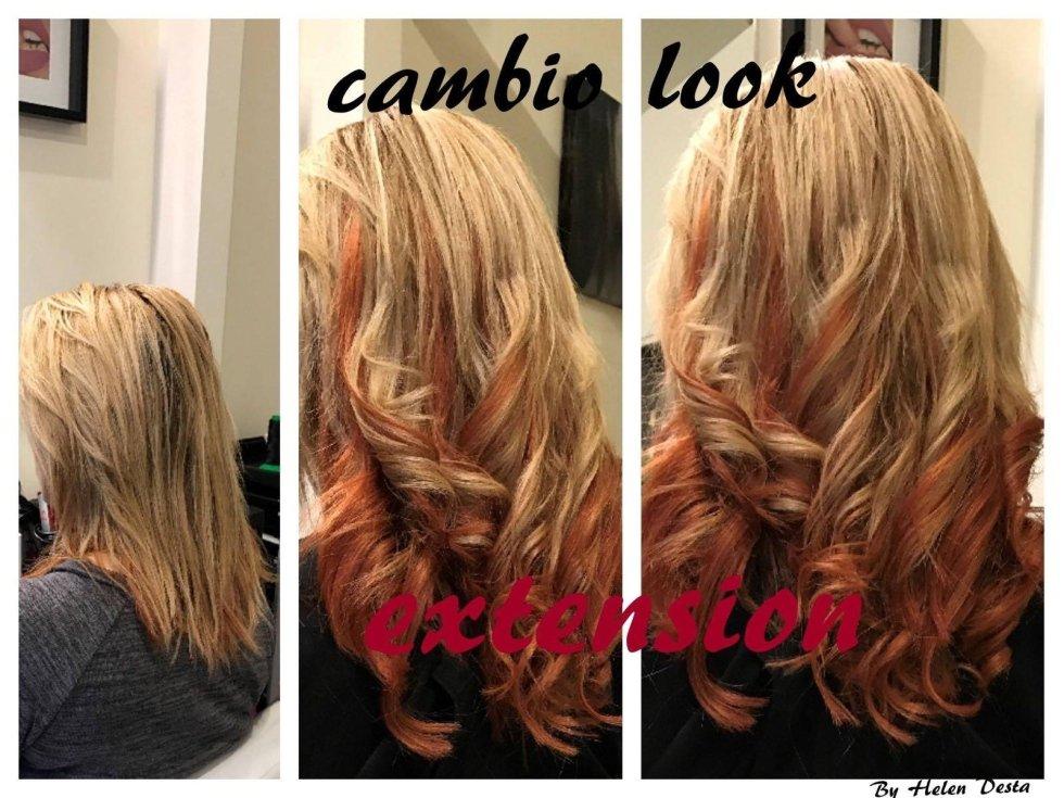 capelli ricci-cambio look extension in un salone