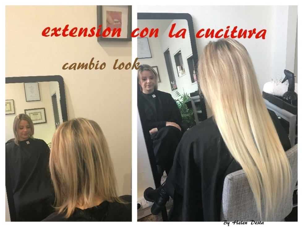 donna in salone con capelli lisci