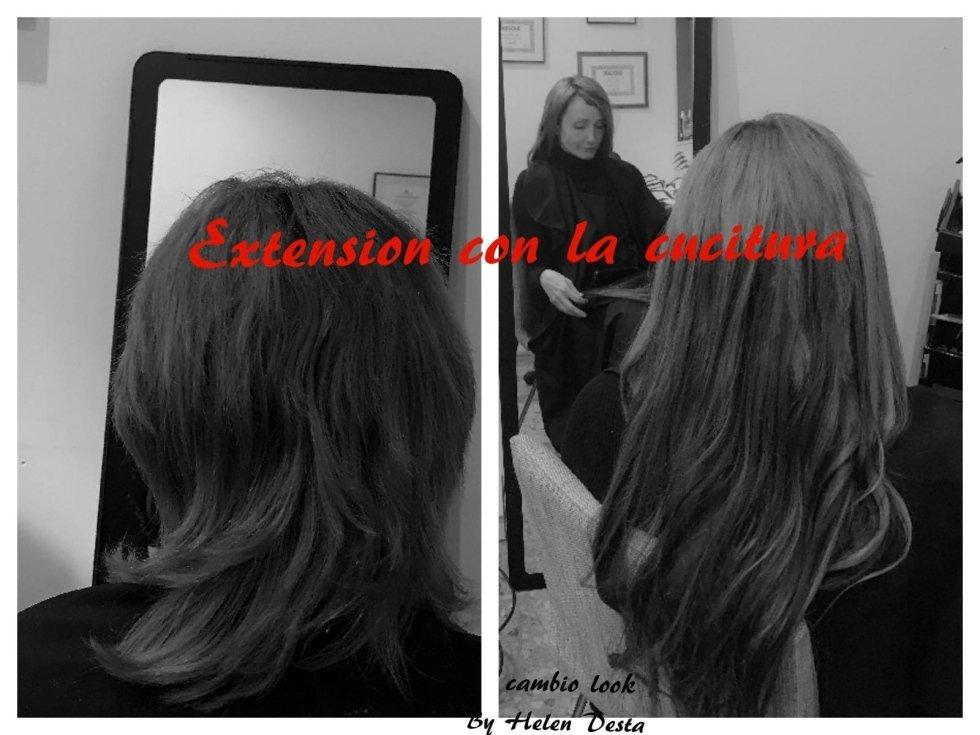 extension con la cucitura-cambio look-vista frontale