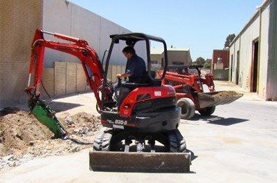 Machine from mini excavator hire working in Perth