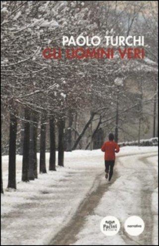 Copertina di un libro con uomo che corre nella neve